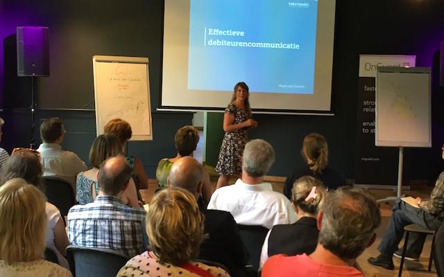 Paula als spreker over 'Effectieve debiteurencommunicatie' voor credit managers binnen de (semi-)overheid en het bedrijfsleven.